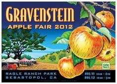 Gravensein Apple Fair, Sebastopol, CA Vintage Labels, Vintage Posters, Art Posters, Craft Cider, Vegetable Crates, Festival Flyer, Local Events, Sonoma County, Great Memories