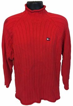 TOMMY HILFIGER Men's Roll Neck Sweater Size Large Red 100% Cotton L Mock Neck