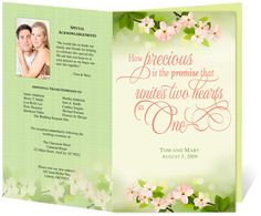 Letter Single Fold : Cherry Wedding Program Templates. Edits easily and quickly in Word, OpenOffice, Publisher, and Apple iWork Pages.