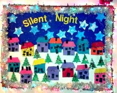 kindergarten bulletin board ideas-- I like the idea of their artwork, the houses, lined up like a neighborhood, with snow below and sky above. Still debating if I like the tinsel border.