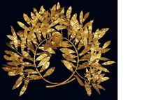 Benaki Museum. Gold wreath of myrtle leaves, with a multi-petalled flower at the centre. From the mid-4th c. BC, similar gold wreaths, with olive, myrtle, oak, laurel or ivy leaves, were found in royal tombs in Macedonia and other Greek regions. 2nd c. BC. (ΓΕ 2088) Prehistoric, Ancient Greek and Roman Art