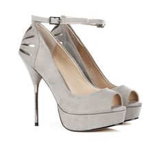 Peep toe pumps with ankle strap and metallic heel
