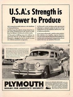 """1941 Plymouth Power to Produce Original Car and Truck Print Ad -An original vintage 1941 advertisement, not a reproduction -Measures approximately 10"""" x 13"""" to 11"""" x 14"""" -Ready for matting and framing"""