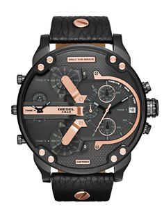 a5186893e4b Diesel Mr. Daddy 2.0 Black Dial Black Leather With Rose Gold Accents Mens  Watch DZ7350