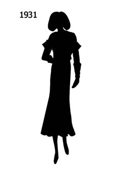 1930 to 1940 Free Black Silhouettes in Costume History - Fashion History, Costume Trends and Eras, Trends Victorians - Haute Couture Black Costume, Black Silhouette, Scroll Saw Patterns, 1930s Fashion, Free Black, Fashion History, Paper Art, Costumes, Cricut Ideas