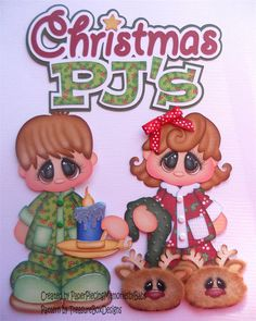Premade Paper Pieced Christmas Pajama Set for Scrapbook Page by Babs   eBay