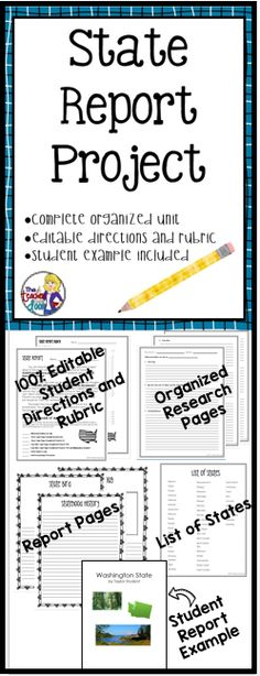 Updated! This 49 page state report unit is an organized way to help you guide your students to create meaningful, well researched reports. The unit includes editable students directions, writing pages, an editable rubric, a student example, and more!