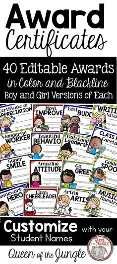 Award Certificates to give out at the End of the Year, End of Grading Period or any time you want to reward students. Color and Black and White.  Boy and Girl versions of each.