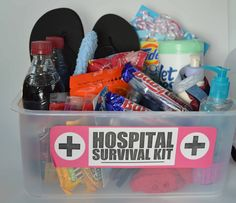 Hospital Survival Kit For soon to be parents, at the hospital.