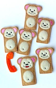 SALE 5 little monkeys Quiet book page finger puppets
