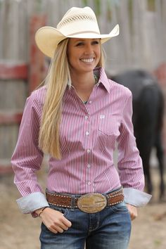 Cinch Women's Stripe Long Sleeve Button Down Shirt