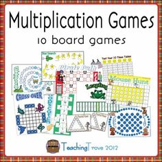10 multiplication games designed to consolidate each individual multiplication fact from the 2 times table to the 11 and 12 are included in this pa. Homeschool Kindergarten, Elementary Math, Teaching Math, Homeschooling, Math Resources, Math Activities, Educational Activities, Classroom Board, Math Classroom