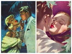 #Vintage #Illustrations Ladies Home Journal 1948 (L) Jon Whitcomb  A satiric look at romance and love advise columns from the 1940s