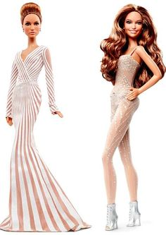 """Jennifer Lopez Red Carpet Doll The Barbie® Collector Jennifer Lopez Red Carpet doll wears a glamorous floor-length gown designed by ZUHAIR MURAD with a plunging neckline and dramatic lines  Jennifer Lopez World Tour® Doll The doll sparkles, wearing a recreation of her """"sequin-encrusted"""" jumpsuit created by ZUHAIR MURAD. Lopez's on-stage look is complete with silver lace-up boots, soft makeup and flowing curls to capture her natural beauty"""