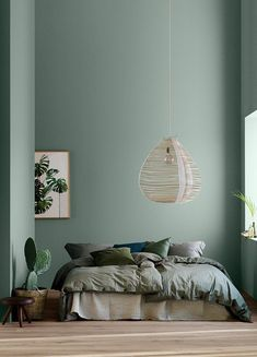 home decor bedroom Modern Earthy Home Decor: Soothing bohemian bedroom with soft pistachio green blue walls and rattan hanging lamp Green Rooms, Bedroom Green, Bedroom Wall Colour Ideas, Wall Colours, Green Bedroom Design, Interior Wall Colors, Interior Color Schemes, Bedroom Ideas Paint, Bedroom With Green Walls