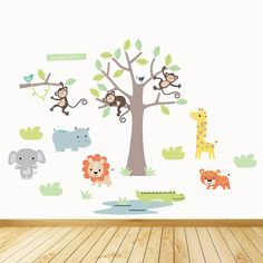 Unique Gift Ideas and Personalised Gifts Jungle Wall Stickers, Kids Room Wall Stickers, Childrens Wall Stickers, Jungle Safari, Room Themes, Illustration Art, Animal Illustrations, Wall Decor, Pastel