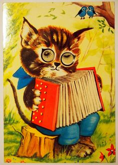 Post Card - Cat with Novelty Eyes - collectable condition - made by Kruger