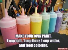 Make Your Own Paint diy diy ideas easy diy kids crafts interesting tips life hacks life hack crafts for kids activities for kids good to know