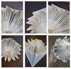 journey along an ordinary life: Paper Protea - improved - the tutorial for this Protea is on my board, but the connection for the tutorial is also on this page.Eventually I found a reference for the paper protea - see earlier post - and so discovered what Origami Paper, Diy Paper, Paper Art, Paper Crafts, Old Book Crafts, Book Page Crafts, Folded Book Art, Paper Book, Folded Paper Flowers