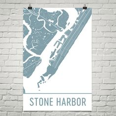 Stone Harbor Map Art Print, Stone Harbor NJ Art Poster, Stone Harbor Wall Art, Stone Harbor Print, Map of Stone Harbor, Birthday, Gift, Art