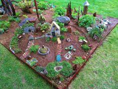 Large Fairy Garden, Fairy Garden Houses, Fairies Garden, Fairy Garden Doors, Fairy Garden Furniture, Garden Beds, Colorful Garden, Miniature Fairy Gardens, Garden Projects