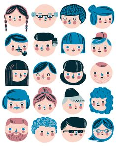 Happy folks with blue hair. Illustration by Ben Javens Family Illustration, People Illustration, Portrait Illustration, Children's Book Illustration, Character Illustration, Digital Illustration, Creative Illustration, Comics Vintage, Guache