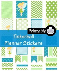 Disney Tinkerbell Princess PDF PRINTABLE Planner Stickers Happy Planner Erin Condren Planner Filofax Plum Paper Decorating Kit Tinker Bell by WhimsicalWende on Etsy