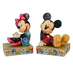 would be cute in a kids room with all their fairytales in between! Minnie Mouse and Mickey Mouse Bookends by Jim Shore