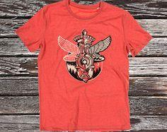 Honda Tour T-ShirtStanley & Stella Mid Heather Red T-shirt met discharge en waterinkt opdruk.