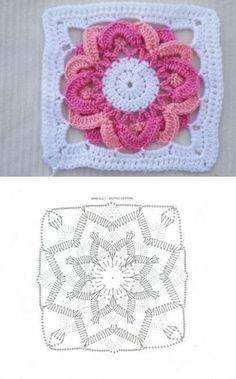 Square motive with a flower in the middle.