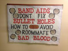 RA Bulletin board for roommates.- Taylor swift Bad Blood