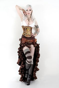 Hard Leather Clockwork Corset  Made to order by BruteForceStudios, $449.00