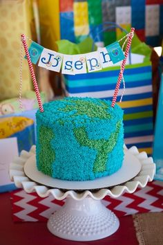 Boy's Themed World Traveler First Birthday Party Smash Cake Ideas