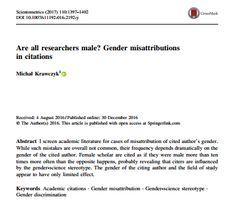 Are all researchers male? Gender misattributions in citations / @Scientometrics | #readytoresearch #readytocrackglassceilings #readyforsciencecommunication