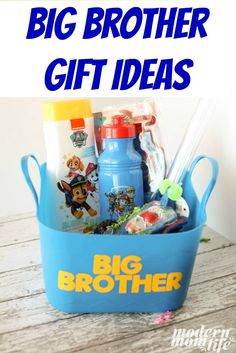 and affordable big brother gift ideas that will make the oldest sibling feel special on his younger sibling's baby shower.Fun and affordable big brother gift ideas that will make the oldest sibling feel special on his younger sibling's baby shower. Brother Presents, Birthday Gifts For Brother, Birthday Presents For Girls, Brother Gifts, Diy Birthday, Big Brother Kit, Big Sibling Gifts, Baby Shower Gifts, Baby Gifts