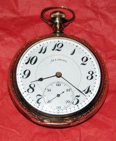 Vintage Illinois Watch Company Goldtone Man's Pocket Watch