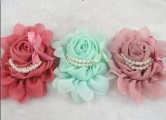 3pcs Big Chiffon Rose Flower Pearls Headband-wedding Appliques U Pick (Mix) ** Check out the image by visiting the link.