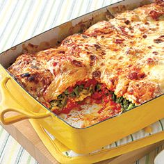 Weeknight Ravioli Lasagna     Cost per serving: $2.15    Would you believe this hearty entrée takes only 10 minutes to assemble? Cheese ravioli squares make up the bottom and top layers, and in between is a delicious spinach-mozzarella filling. Double the recipe for a crowd.