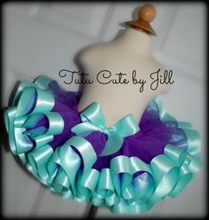 Sewn Purple Tutu With Aqua Satin Ribbon Trim.  Tutu Cute By Jill on Etsy