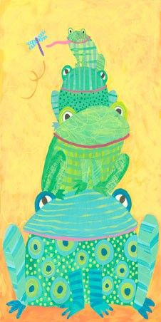 frogs, illustrating scale and depth in art. artist Stephanie Bauer