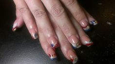 Full acrylic, white, red, blue and gold glitter.