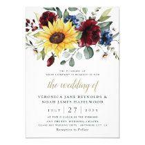 Burgundy Marsala Floral Wedding Invitation Card   Zazzle.com Sunflower Wedding Invitations, Burgundy Wedding Invitations, Simple Wedding Invitations, Wedding Invitation Design, Wedding Stationery, Wedding Envelopes, Custom Invitations, Shower Invitations, Sunflower Weddings