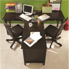 E2 Midtown Ergonomically Curved Two-Person Dual T Desk & Three-Drawer  Single File