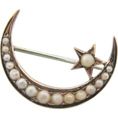 Antique 10 K Gold Seed Pearl Moon and Star Brooch.