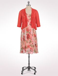 Plus-size   Plus Size Chiffon Floral Jacket Dress   dressbarn