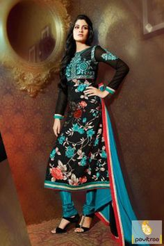 Pavitraa #Blck and #Blue #Designer Casual Salwar Suits