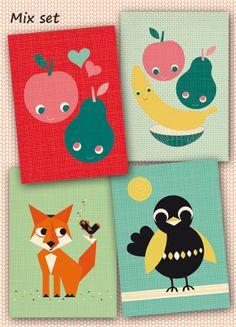 Set van 4 ansichtkaarten beterschap liefde vos en door MissHoneyBird