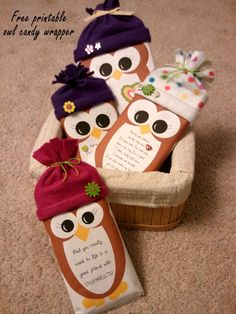 Freebie: Christmas Owl Candy Wrapper