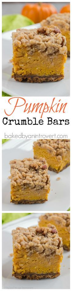 Thick pumpkin filling layered over a ginger snap crust, and topped with a brown sugar pecan crumble.