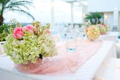 tiffany blue and pink elegant rooftop baby shower for sofie long tables with organza linens and hydrangea centerpieces